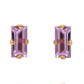 Caroline Svedbom Baguette Earrings Gold Violet