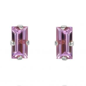 Caroline Svedbom Baguette Earrings Rhodium Violet